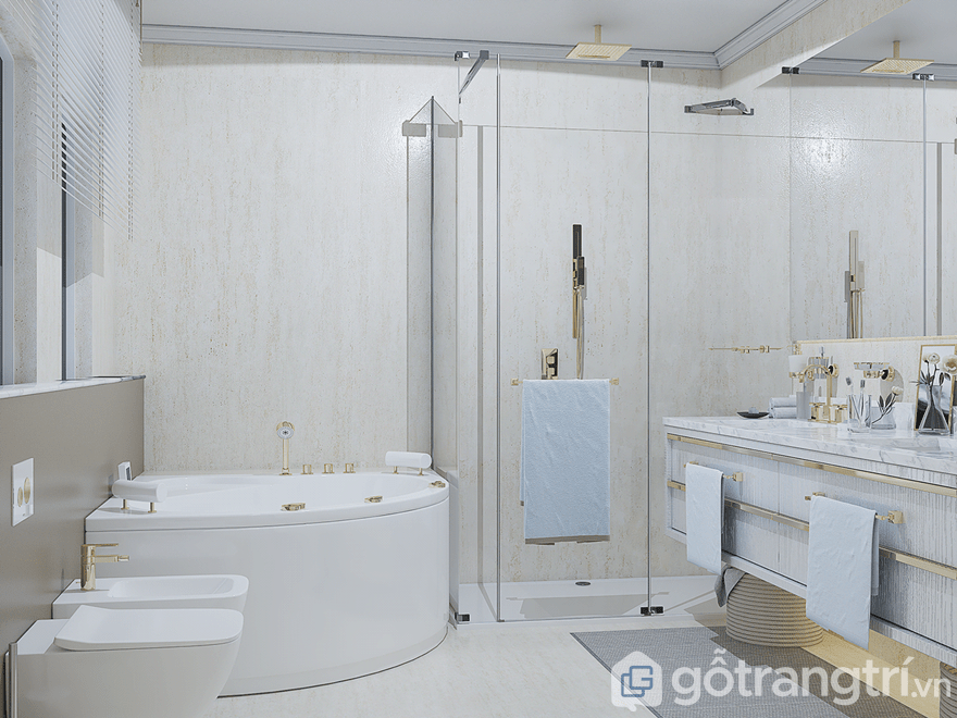 Không gian phòng tắm được trang bị đầy đủ từ bồn tắm, bồn rửa mặt, phòng tắm