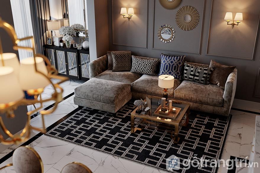 Những họa tiết đơn giản của thảm trải sàn hay gối ôm đã mang đến 1 không gian mới lạ, sinh động cho phòng khách