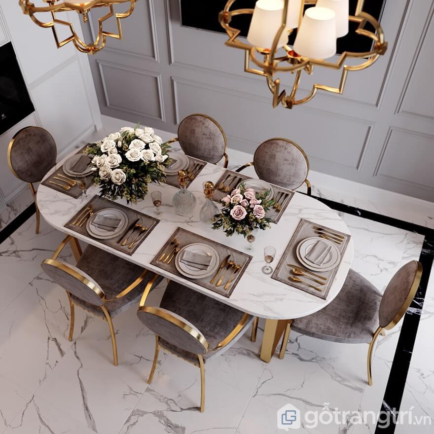 Bộ bàn ăn bọc nỉ mạ đồng sáng bóng