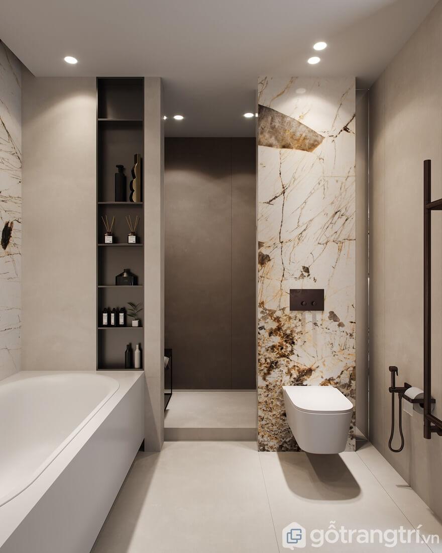Trang trí nội thất chung cưGolden Park Tower cho phòng tắm sang trọng, sáng bóng
