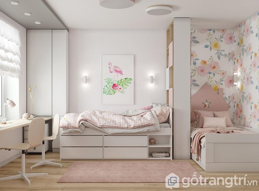 Thiết kế nội thất phòng ngủ cho con gái nổi bật với gam màu hồng trẻ trung