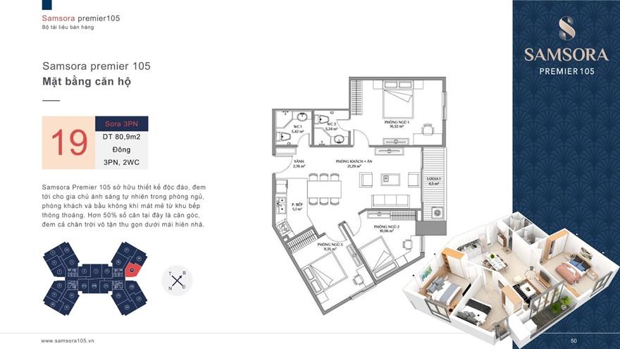 Mặt bằng căn hộSamsora Premier 105 80 m2