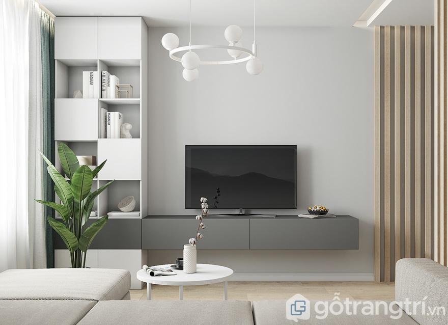 Kệ tủ, tivi, đèn trang trí đã giúp phòng khách trở nên sinh động hơn