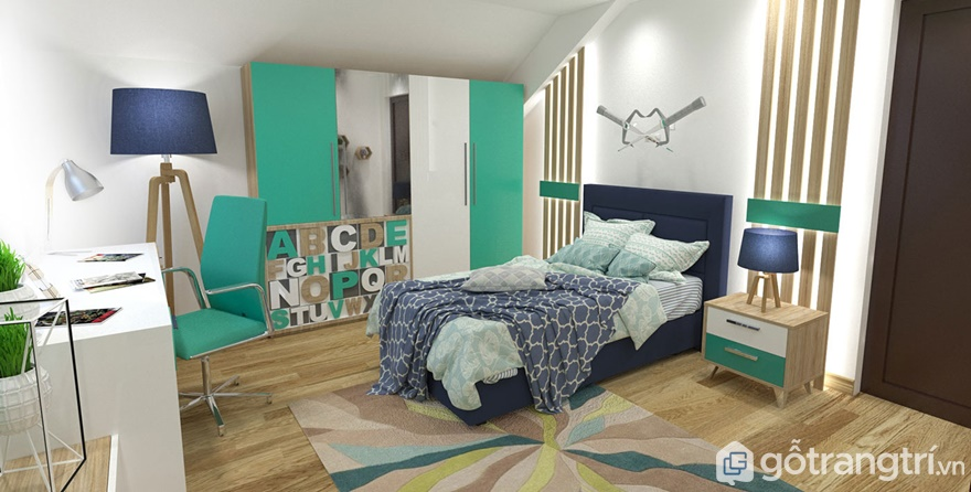 Thiết kế nội thất phòng ngủ cho con trai trẻ trung, sáng tạo