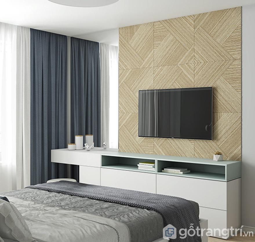 Thiết kế tivi treo tường đối diện giường ngủ