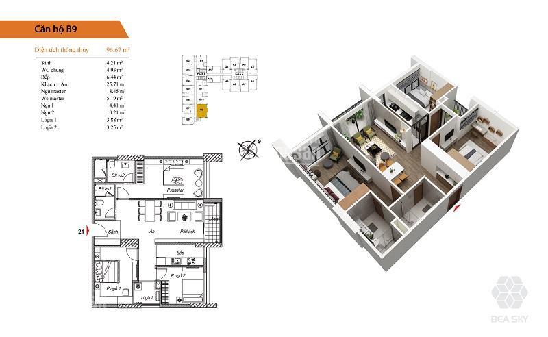 Nội thất chung cư Bea Sky 3 phòng ngủ hiện đại