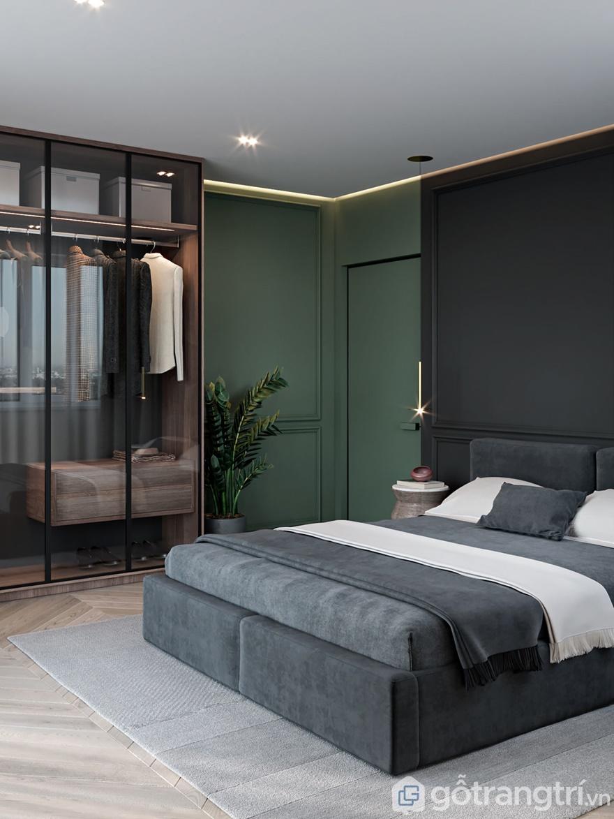 Phòng ngủ có sự hiện diện của cây xanh