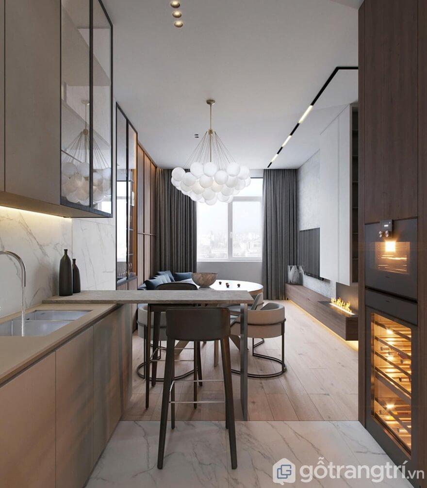 Tất cả khu vực nấu bếp, rửa chén đều được bố trí ngay cạnh nhau để thuận tiện trong việc nấu nướng