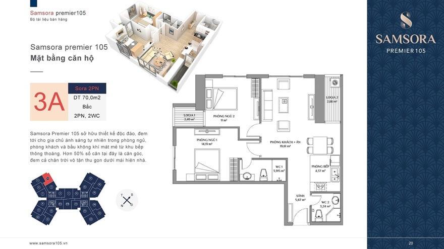 Mặt bằng căn hộSamsora Premier 105 70m2