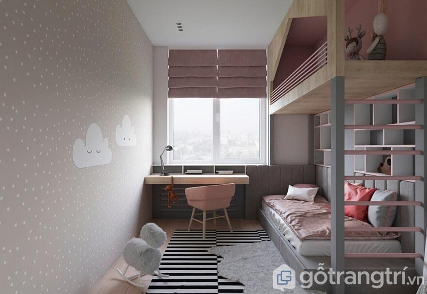 Phòng ngủ con gái được thiết kế ngay cạnh cửa sổ với tấm rèm màu hồng nhẹ