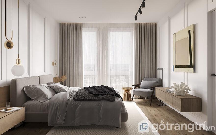 Thiết kế căn hộ Cầu Giấy Center Point 2 phòng ngủ: Phòng ngủ master
