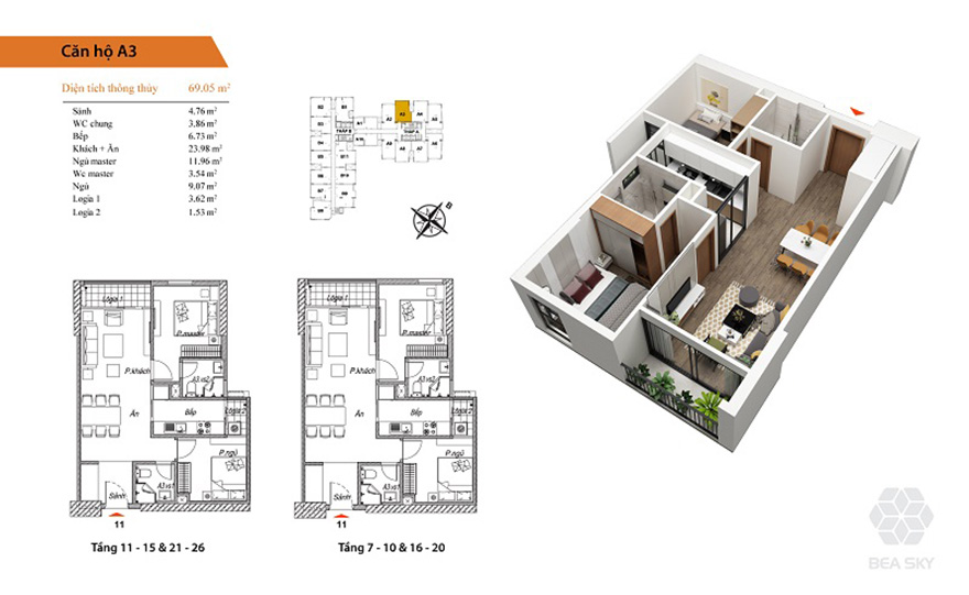Thiết kế nội thất chung cư 68m2 Bea Sky Nguyễn Xiển đẹp
