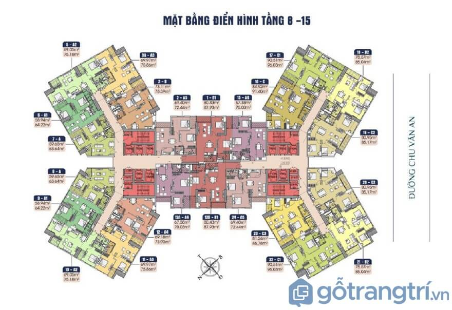 Mặt bằng diện tích các căn hộ tại Samsora Premire 105