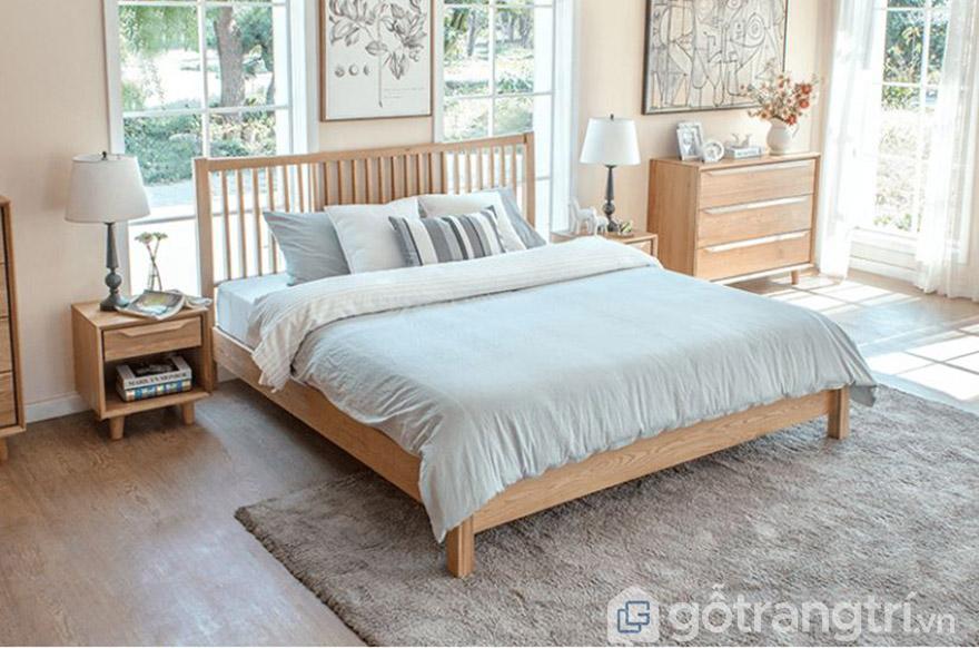 Bộ giường ngủ đẹp gỗ sồi