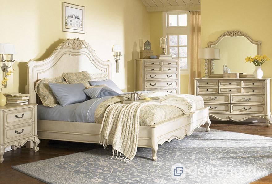 Giường ngủ MDF 1m8 phong cách Vintage