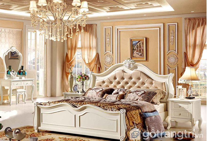 Giường gỗ MDF 1m8 phong cách tân cổ
