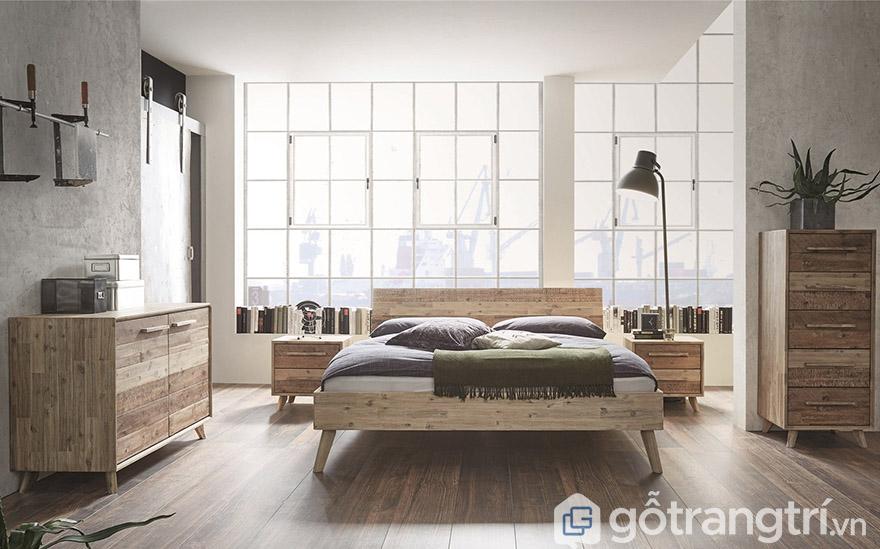 giường gỗ keo 1m8