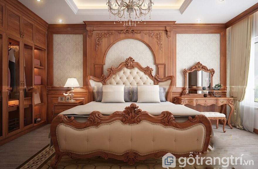 Giường hoàng gia gỗ gõ đỏ