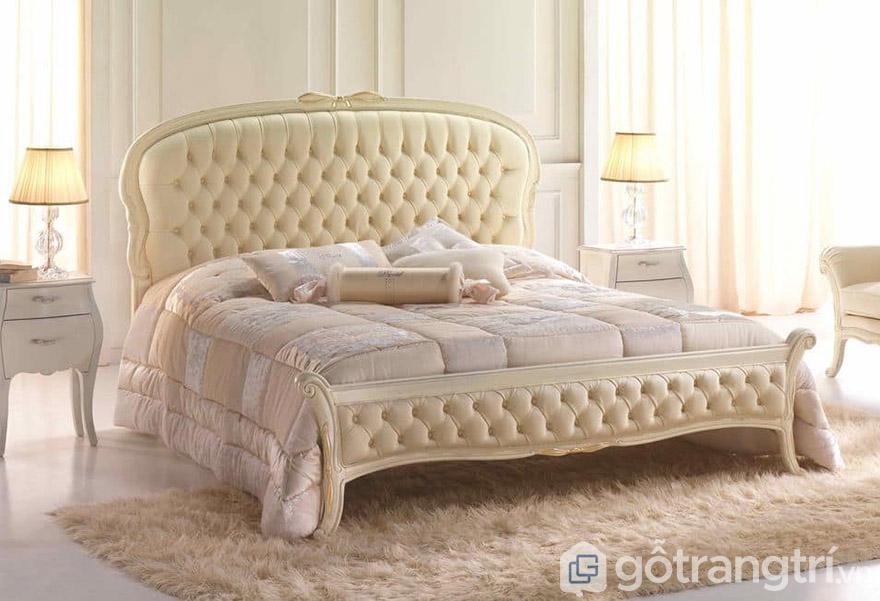 Giường ngủ tân cổ điển gá rẻ Hà Nội gỗ MDF