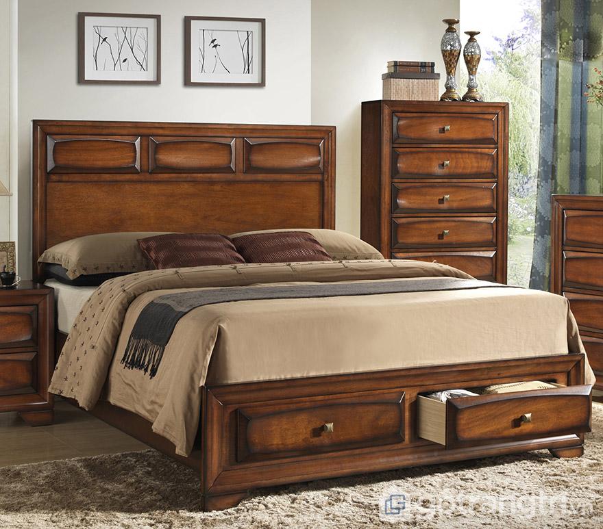 Giường ngủ tân cổ điển gá rẻ Hà Nội gỗ sồi