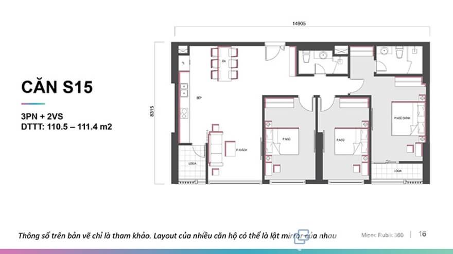 Mặt bằng căn hộ Mipec Rubik 360 3 phòng ngủ