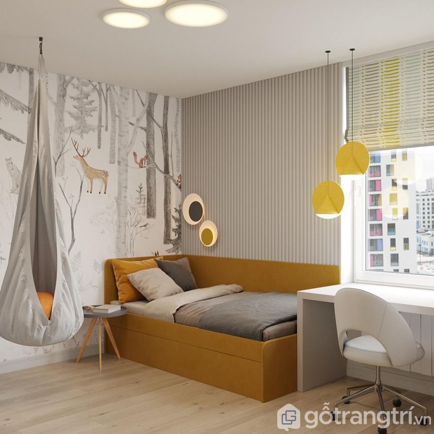 Phòng ngủ bé trai thiết kế đơn giản, nhẹ nhàng