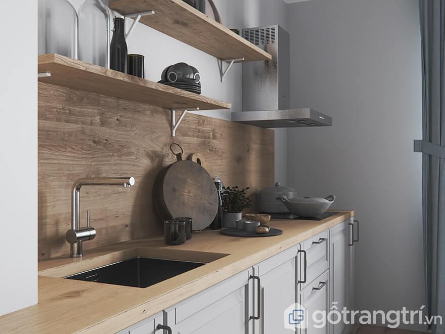 Tủ bếp mang đậm chất mộc khi sử dụng gỗ sồi và MDF là chất liệu chính