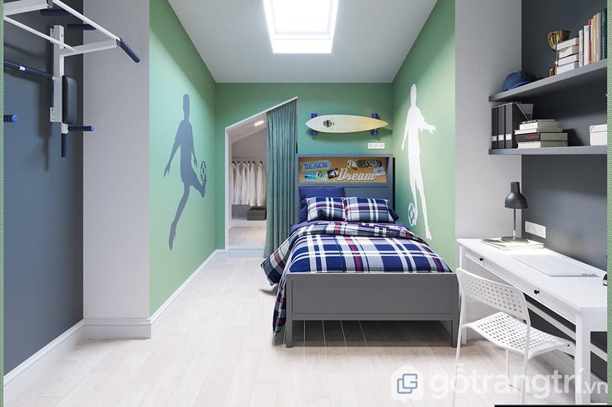 Thiết kế nội thất phòng ngủ Mipec 360: Bé trai