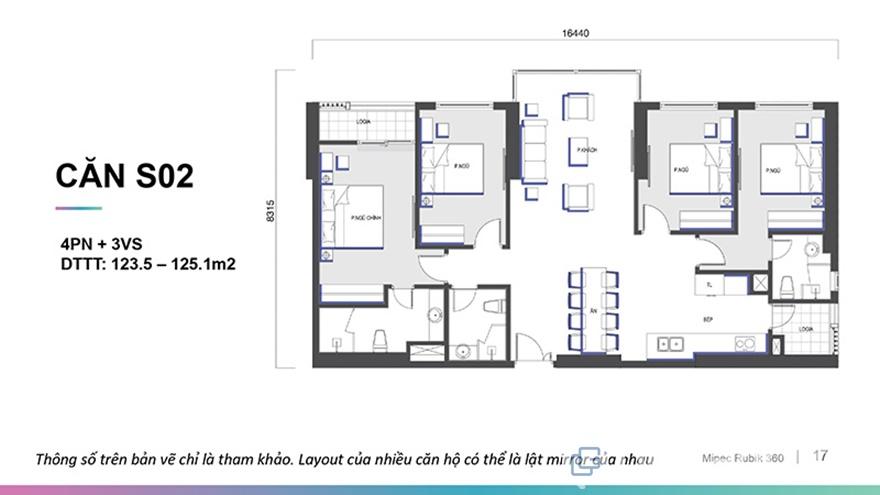 Mặt bằng căn hộ Mipec Rubik 360 4 phòng ngủ