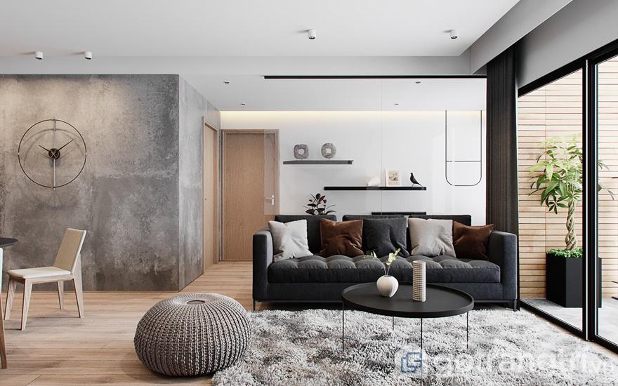 Mẫu nội thất Mipec Rubik 360 4 phòng ngủ: Phòng khách