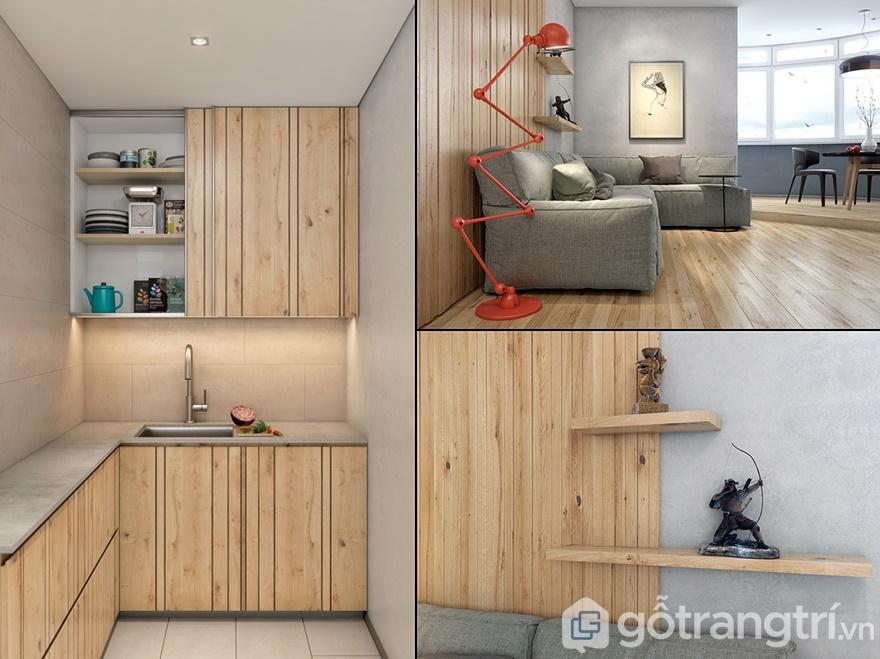 Từ vách tường, trần nhà hay tủ bếp đều được sử dụng chính là chất liệu gỗ
