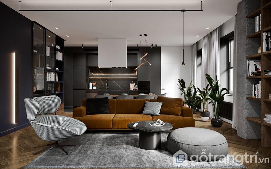 Mẫu nội thất căn hộ Mipec Rubik 360 2 phòng ngủ: Phòng khách