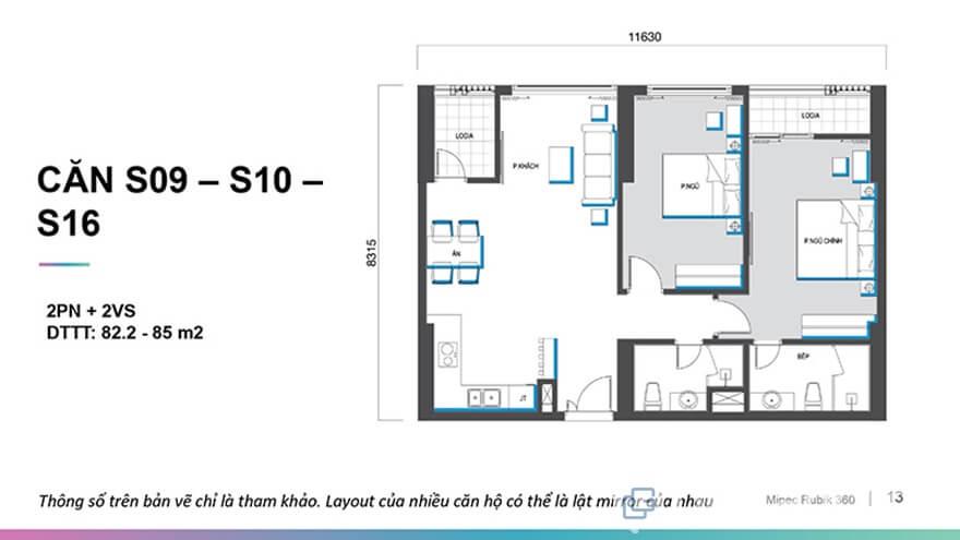 Mặt bằng căn hộ Mipec Rubik 360 2 phòng ngủ