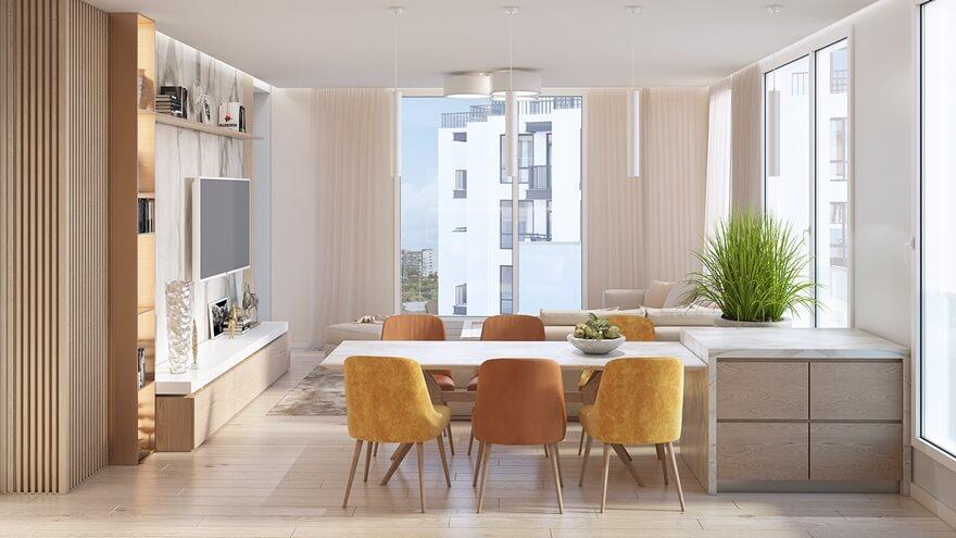 Phòng khách thiết kế liền kề với bếp ăn