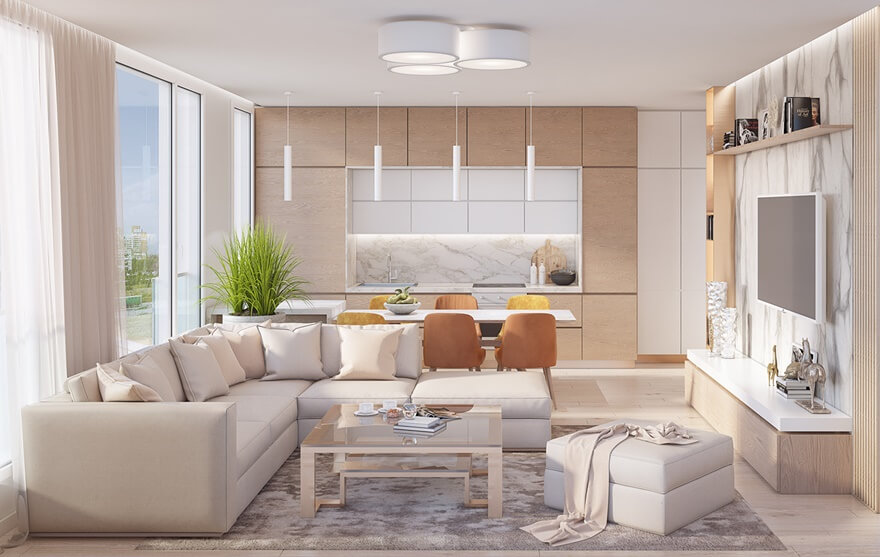Phong cách thiết kế nội thất hiện đại Mipec Rubik 360 cho phòng khách