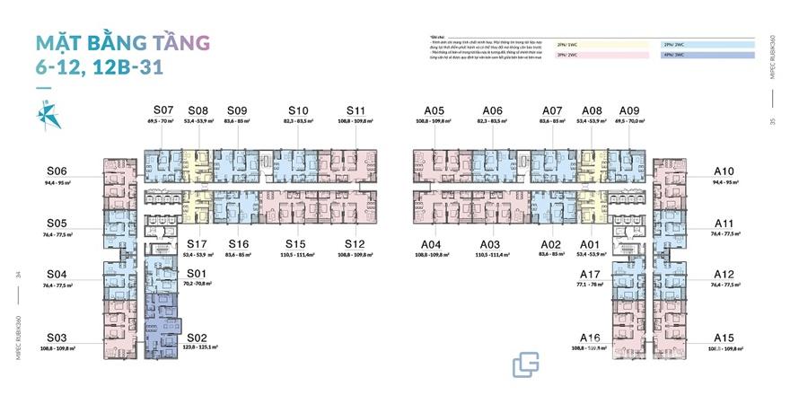 Mặt bằng diện tích chung cưMipec Rubik 360
