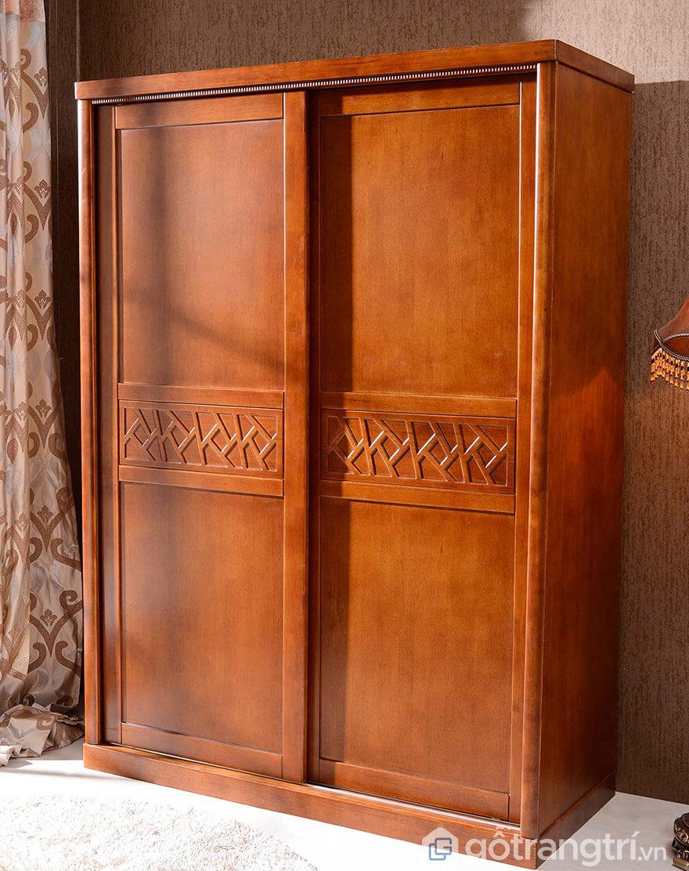 Tủ quần áo gỗ xoan đào 2 buồng HN