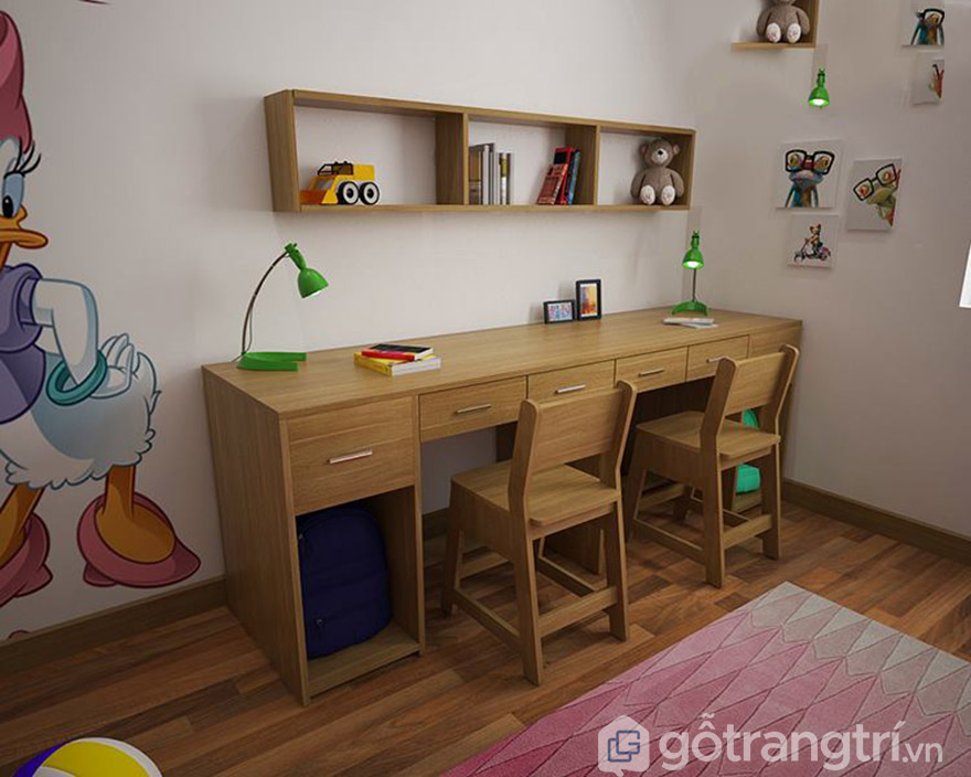 Mẫu bàn học đôi bằng gỗ