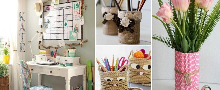 cách trang trí bàn học bằng đồ handmade