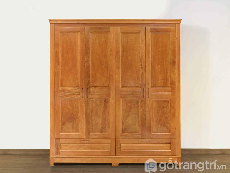 Mẫu tủ quần áo gỗ tự nhiên 4 cánh cửa mở