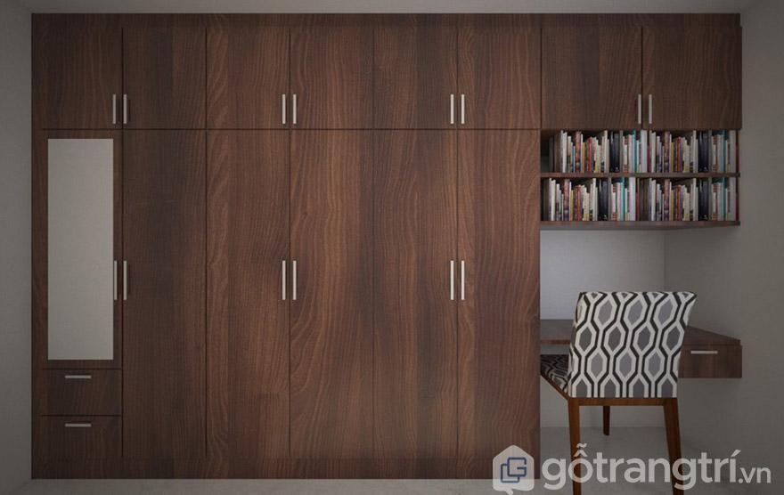 mẫu tủ quần áo gỗ tự nhiên 5 cánh