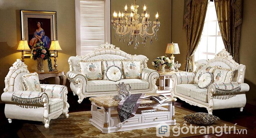 Sofa nỉ tân cổ điển