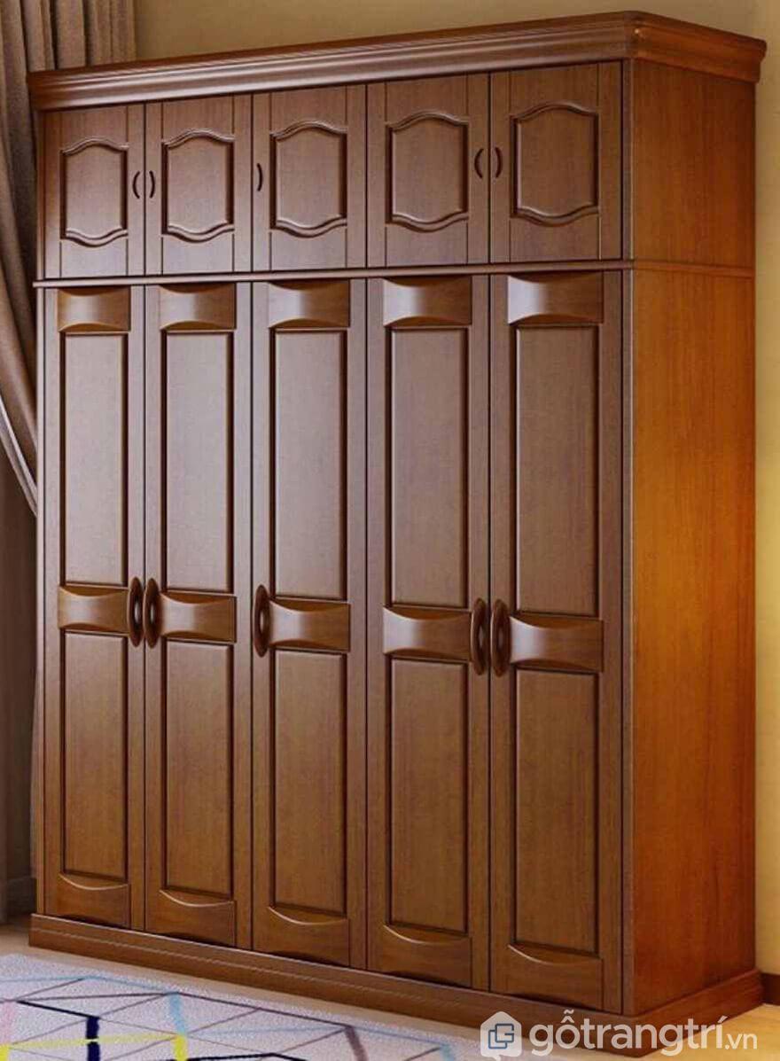 Tủ quần áo gỗ xoan đào 5 buồng đẹp