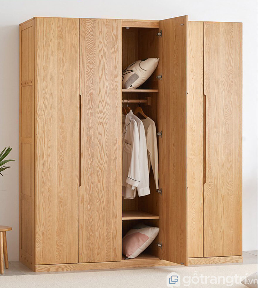 Mẫu tủ quần áo gỗ xoan đào 5 buồng