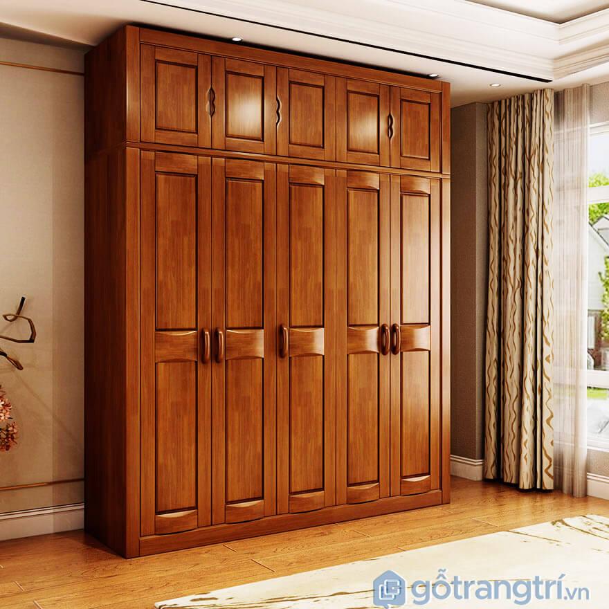 Tủ quần áo gỗ xoan đào 5 buồng