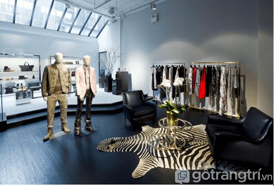 Thiết kế shop thời trang nam với tone màu đen - trắng