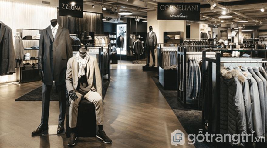 Thiết kế shop quần áo nam với các kệ đơn sắc
