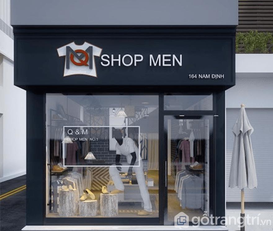 Thiết kế shop quần áo nam với gương hoặc kính
