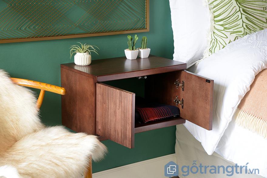 Tủ đầu giường gỗ óc chó thiết kế hiện đại