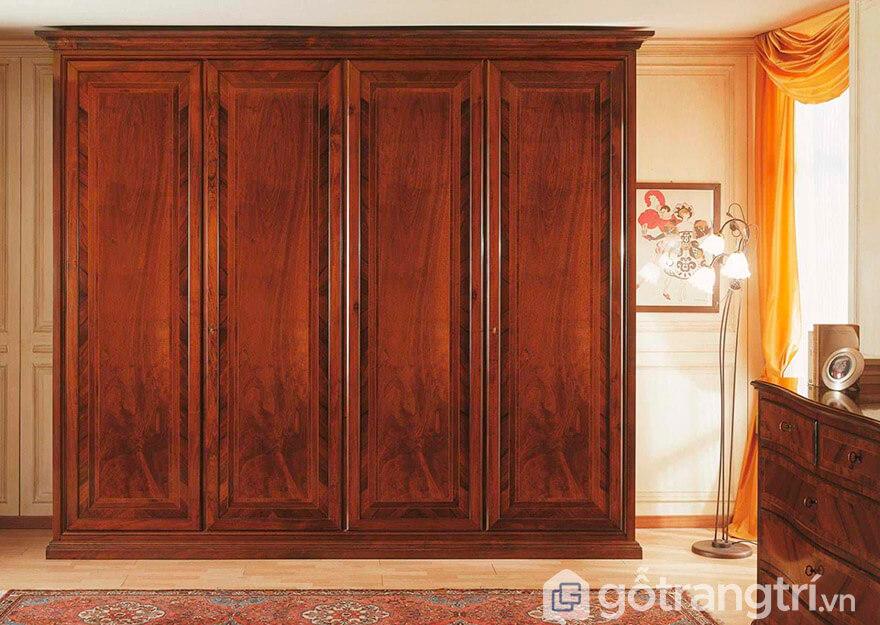 Tủ quần áo gỗ xoan đào 4 cánh 2 tầng